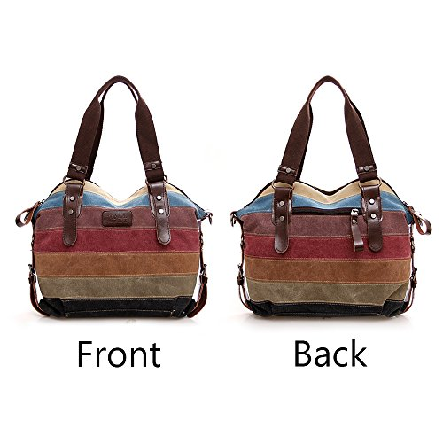 RETON Rainbow Canvas Tote Bag Multi-Color Striped Handbag Women Shoulder Bag