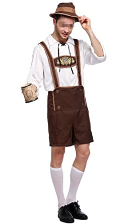 4b0957f4dc59 Oktoberfest Costume Bavarian Men Uniform Lederhosen Shorts with Shirt Hat  Large