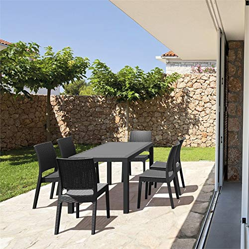 JumpingLight Orlando 7 Piece Patio Dining Set in Dark Gray Durable and Ideal for Patio and Backyard (Cheap Orlando Furniture Outdoor)