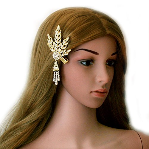 Cougar's Choice® Great Gatsby Inspired 1920's Austrian Crystal Art Deco Leaf Hair Clip Pin Headpiece Headband (golden)