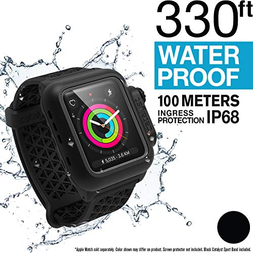 Catalyst Waterproof Case for Apple Watch 42mm Series 2 & 3 with Premium Soft Silicone Apple Watch Band, Shock Proof Impact Resistant [Rugged iWatch Protective case], Black Sport Band