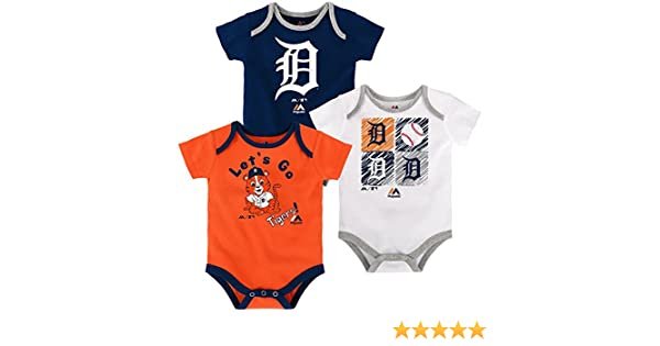 Majestic Detroit Tigers Baby//Infant Go Team 3 Piece Creeper Set