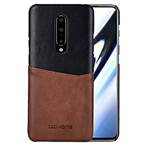 OnePlus 7 Pro Case, Genuine Leather Card Holder Slot Wallet Case Cover for OnePlus 7 Pro (Black)