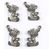 Metal Holiday Charms-SILVER CHRISTMAS STOCKING 15x20mm (20 Pieces)