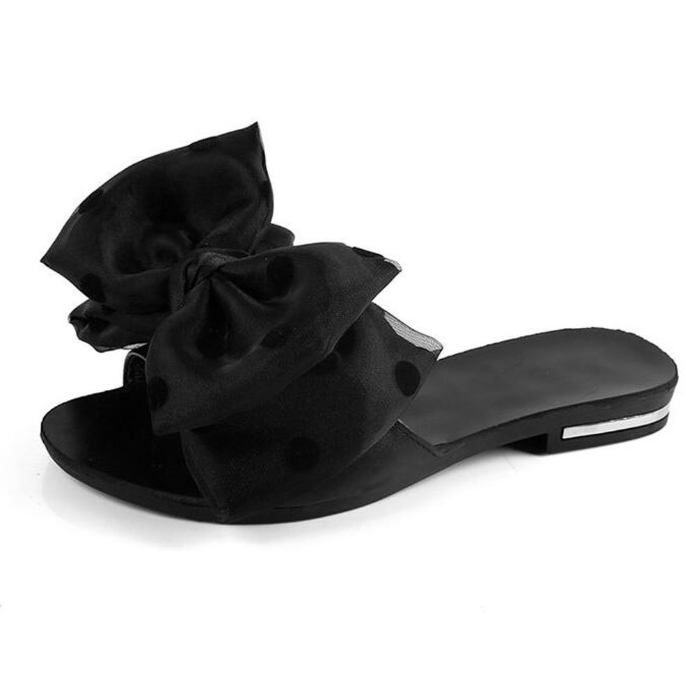 Women Slides Sandals,Fashion Open Toe Women Flip-Flops Cute Lady's Bow Silky Slip-On Slippers
