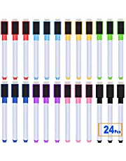 24 Pcs Magnetic Dry Erase Markers Whiteboard Marker Pens 8 Assorted colors with Erasers Cap for Home School Business and Office Use