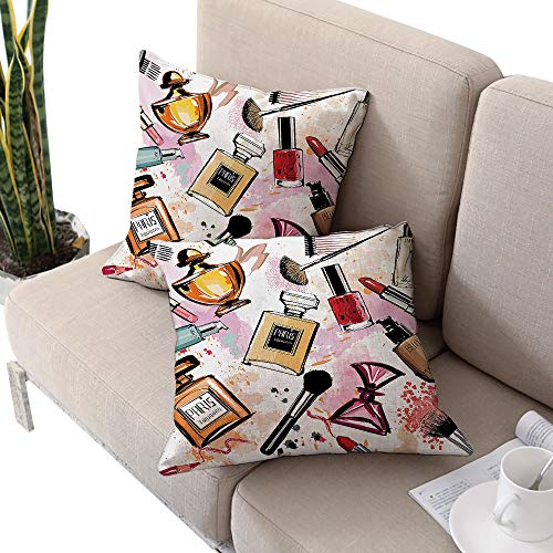 Michaeal Girls Square Square Euro Sham Cushion Cover,Cosmetic and Makeup Theme Pattern with Perfume Lipstick Nail Polish Brush Modern Lady Multicolor Cushion Cases Pillowcases for Sofa Bedroom Car