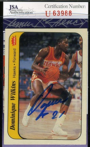 - DOMINIQUE WILKINS 1986 Fleer Sticker Rookie COA Autograph Authentic Signed - JSA Certified - Basketball Slabbed Autographed Cards