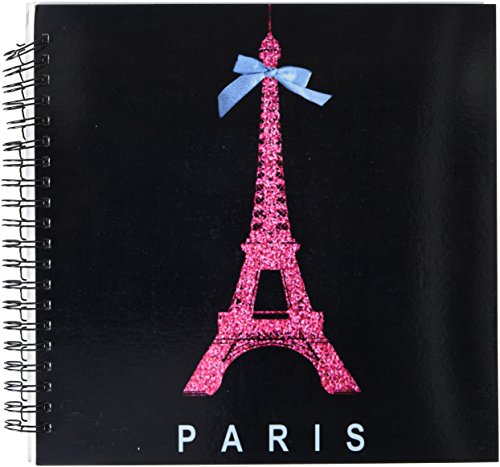 Pink Ribbon Spiral Notebook - 3dRose db_112908_2 Hot Pink Paris Eiffel Tower from France with Girly Blue Ribbon Bow-Black Stylish Modern France-Memory Book, 12 by 12-Inch