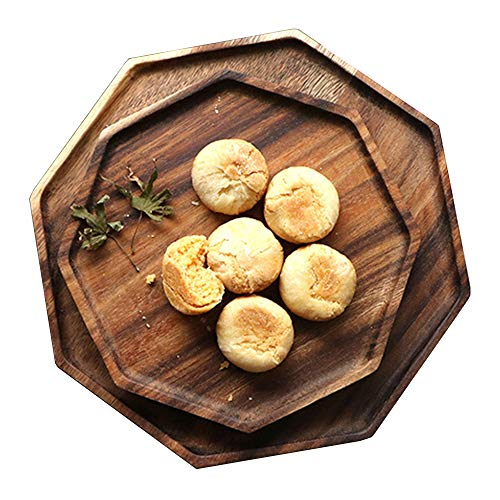 Round Wood Platter - Set of 2 Acacia Wooden Octagon Square Trays Serving Bread Plates for Fruit Salad Platter Vegetable Food Dish