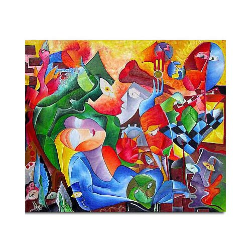 "Pintura Lienzo al Óleo Arte Abstracto Moderno ""AMOR MISTERIOSO"" por DOBOS, Cuadro Original para Decoración del Hogar"