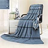 YOYI-HOME Digital Printing Duplex Printed Blanket Nautical Anchor with Marine Rope on Wood Background Sea Ocean Life Coast Cruise Theme Blue Grey Summer Quilt Comforter /W79 x H59