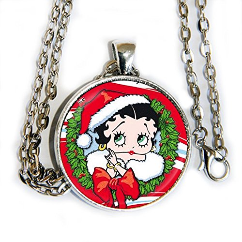 Betty Boop Christmas Wreath - Pendant Necklace - HM