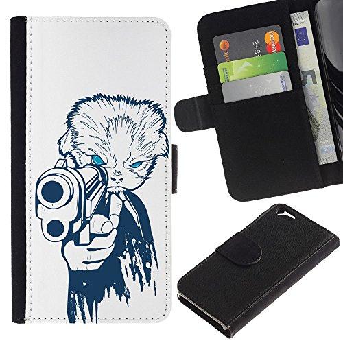 EuroCase - Apple Iphone 6 4.7 - Gangster Dog - Cuir PU Coverture Shell Armure Coque Coq Cas Etui Housse Case Cover