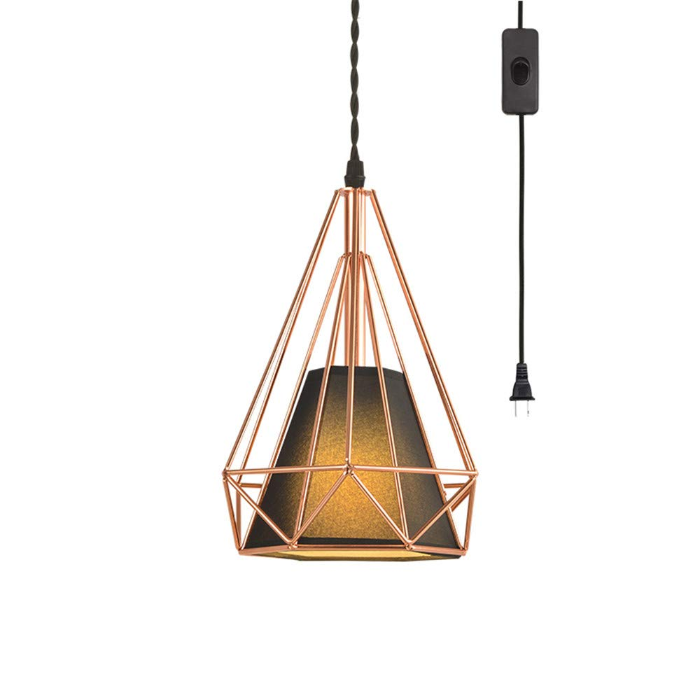 EFINEHOME Geometric Cage Swag Light, Modern Industrial 1-Light Plug-in Pendant Light, Rose Gold, 15 Foot Black Designer Cloth Rope in-Line On/Off Switch Black Lampshade