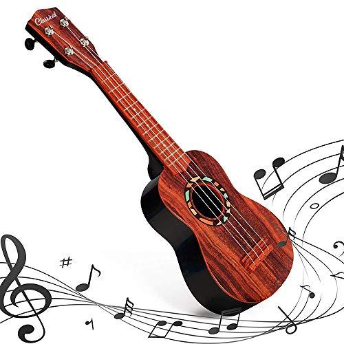 COLOR TREE 21″ Faux Wood Ukulele Kids 4 String Acoustic Hawaiian Guitar Plastic Ukulele Guitar