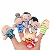 Super Value - Family Finger Puppets - 6 pcs soft plush - Kids Educational Toy - Children storytelling Props - Baby Bed Stories Helper Doll - Mom, Dad, Grandpa, Grandma, Brother, Sister