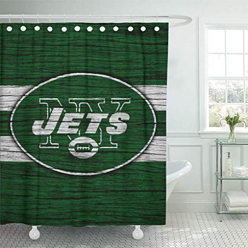 Ladble Decor Shower Curtain Set with Hooks New York City Jets Wooden Texture Football Emblem US 72 X 72 Inches Polyester Waterproof ()