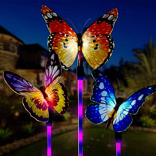 - Garden Solar Lights Outdoor, UBKER 3 Pack Solar Stake Lights Multi-Color Changing LED Butterfly, Fiber Optic Decorative Lights for Yard, Garden, Solar Powered Light with a Purple LED Light Stake