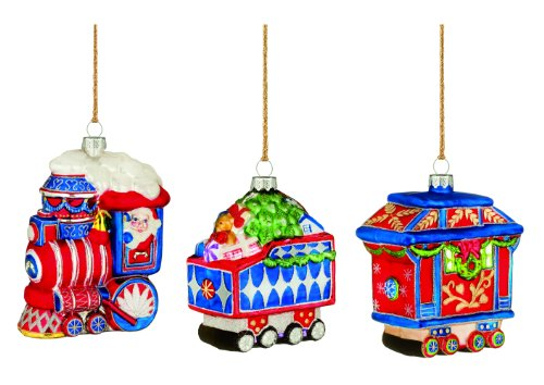 Marquis by Waterford Train Ornaments, Set of 3, (Waterford Train)