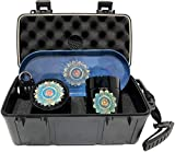 BLUE MANDALA LOCKING STASH BOX COMBO - What you get! Blue Mandala 4 piece titanium grinder, large stash jar, and blue mandala rolling tray that all fit neatly and safely inside the large Smell Proof Locking Stash Box with Humidity Control.  Stash Box...