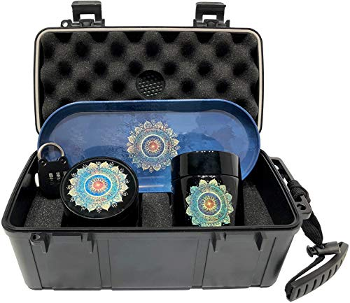 Mandala Locking Stash Box Combo - Smell Proof Case with Lock Grinder Stash Jar and Rolling Tray - Ultimate Stash Combo! Odor proof Discrete Stash Container with Accessories (Mandala) ()