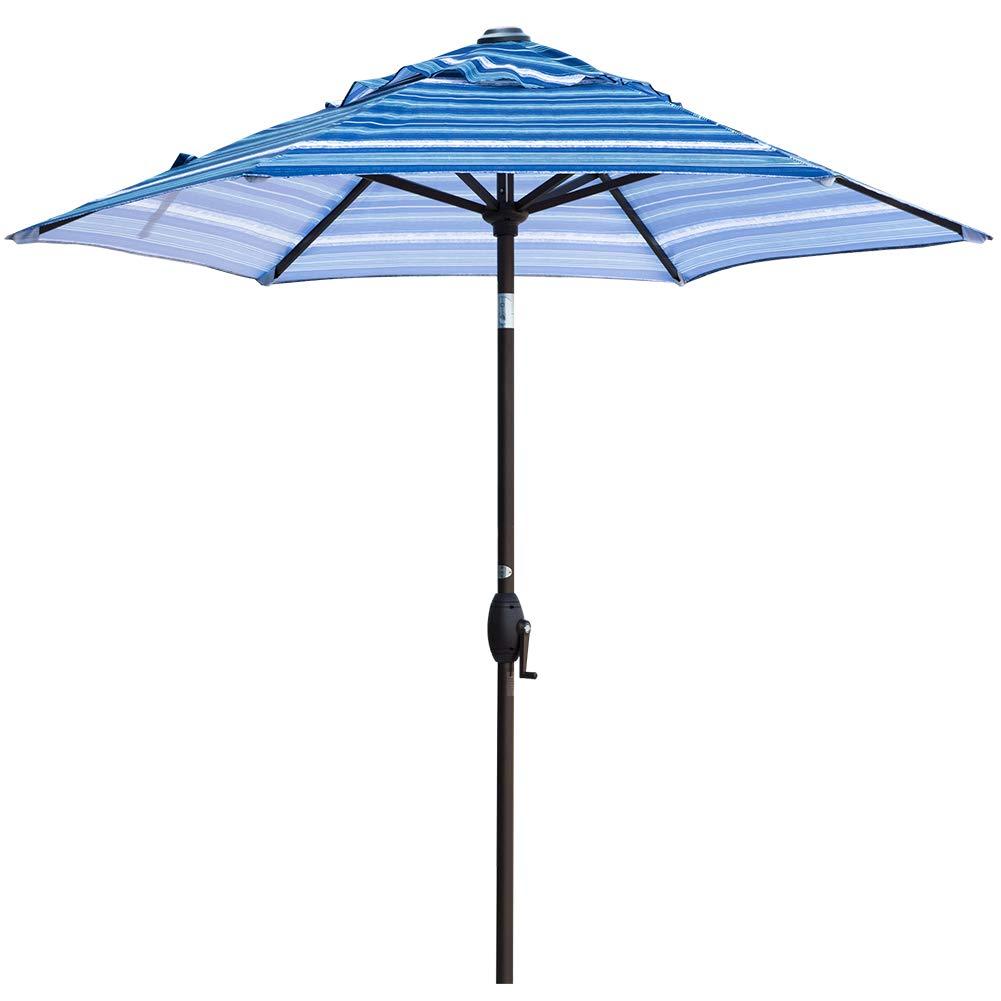 Abba Patio Outdoor Patio Umbrella Aluminum Market Table Umbrella with Push Button Tilt and Crank, 7-1/2 Feet, Blue Striped