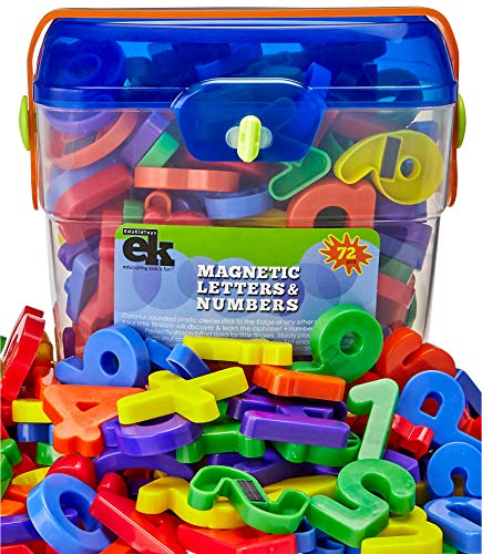 Magnetic Letters and Numbers - 72 Educational Refrigerator Fun Learning Plastic Magnets for Toddlers and Children - Great for Preschool, Classroom, Day Care, and Home - by EduKids