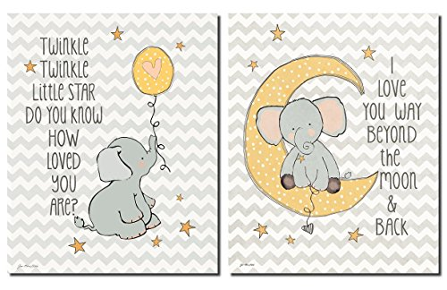 Twinkle Love and Two the Moon on Chevron; Two 8x10in Poster Prints. Grey/White/Yellow