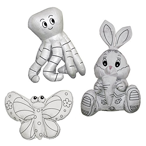 - CREATIVITY ZOO - Set of Three Coloring Kit, Handmade Large Stuffed Animal (Butterfly, Bunny Rabbit and Octopus) for Coloring, Washable and Reusable, by CobeiHomegoods