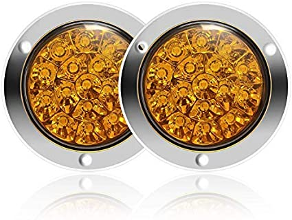 MLING 2pcs Feux Arri/ère 16 LEDs Etanche Lumi/ère de frein avec lunette en acier inoxydable Chrome pour Remorques Camions RV etc Jaune