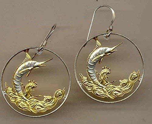 Earrings Blue Gold Marlin - Bahamas