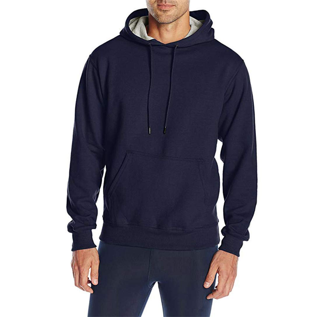 FRCOLT New! Mens Fleece Hoodie Long Sleeve Pure Color Sweatshirt Pullover Pocket