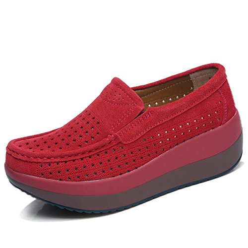 HKR-GF3213-1hongse41 Women Hollow Out Slip On Platform Wedge Shoes Suede Loafers Moccasins Comfort Working Shoes Red 8.5 B(M) US