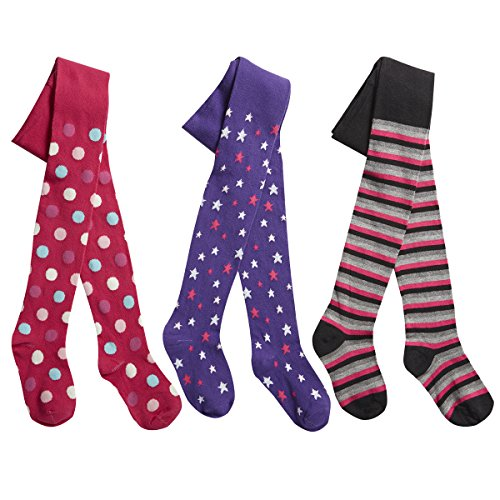 Junior Kids Girls Printed Tights (Ages 2-8) Thick Cotton Rich Funky Designs 3 Pair Multipack