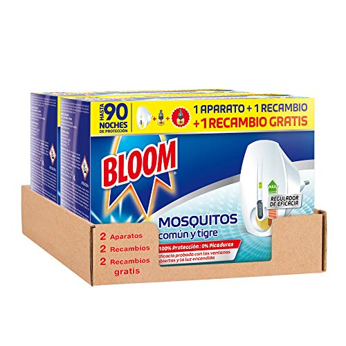 🥇 Bloom Eléctrico Líquido – Pack de 2 Aparatos con 4 Recambios Anti Mosquitos