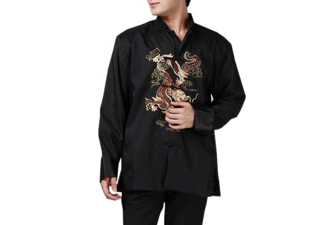 XueXian(TM) Mens Kung Fu Long Sleeve Chinese Dragon Spring Autumn Tang Jacket (China XXXL: Bust 49.6'',black) by XueXian(TM)