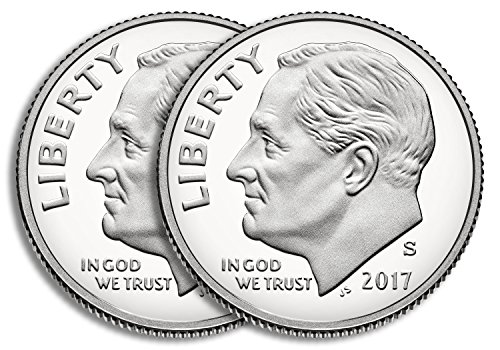 Roosevelt Dime 10 Cent Coin (2017 S Silver & Clad Roosevelt Dimes Two Coin Set Proof)