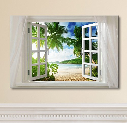 """Wall26 - Canvas Prints Wall Art - Glimpse into Beautiful Tropical Beach with Palm Trees out of Open Window 