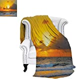 Digital Printing Blanket Morning at The Beach in Brazil The Sun Rays Through The Clouds Over Sea Sunset Image Summer Quilt Comforter 62'x60' Orange Gray