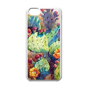 catus plants colorful watercolor iPhone 5C Case White
