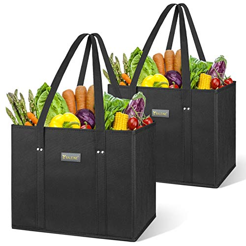 BALEINE Reusable Grocery Shopping Box Bag Set with Reinforced Bottom & Handles, Large Heavy Duty Eco Friendly Collapsible Foldable Bags in Bulk Fit in Shopping Cart