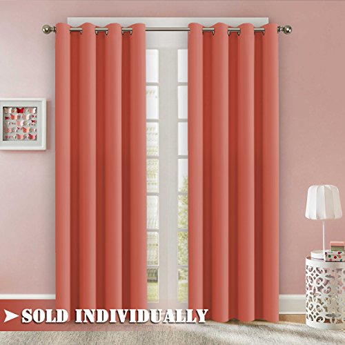 Flamingo P Room Darkening Coral Curtain Drapes Energy Efficient Solid One Panel Thermal Insulated Girls Room Curtain (Set of 1 Panel, 52 by 96 Inch,Coral)
