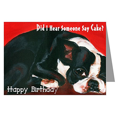Single Greeting Card of Vintage Boston Terrier Napping Original Artwork By Philo Happy Birthday Card