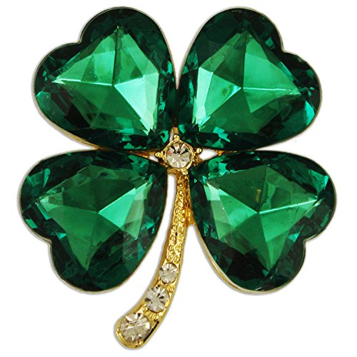 CRYSTAL GREEN FOUR LEAF CLOVER BROOCH PENDANT PIN MADE WITH SWAROVKI ELEMENTS (gold-plated-base)