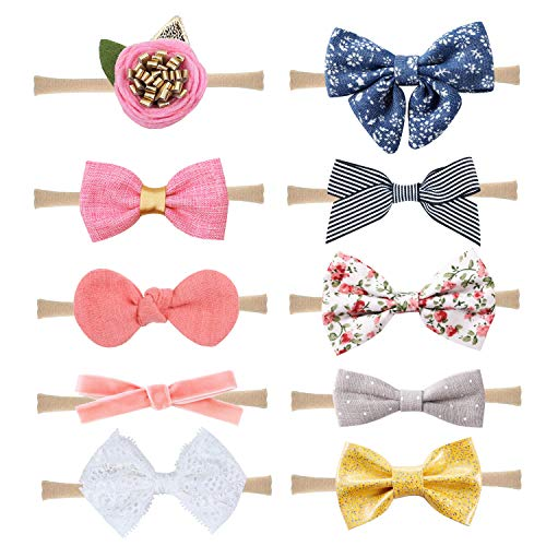 Baby Nylon Headbands Hairbands Hair Bow Elastics for Baby Girls Newborn Infant Toddlers Kids by Prohouse (Bows A-10PCS)