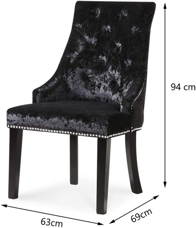 Warmiehomy Set of 2 Dining Chair Ice Velvet High Back Fabric Upholstered Studded Seat with Ring Knocker Wood Armchairs for Kitchen Restaurant Bedroom Living Room, Beige Black