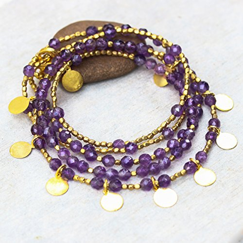 - Amethyst faceted beads wrap bracelet with gold 22k plated on brass beads and golden disc decoration