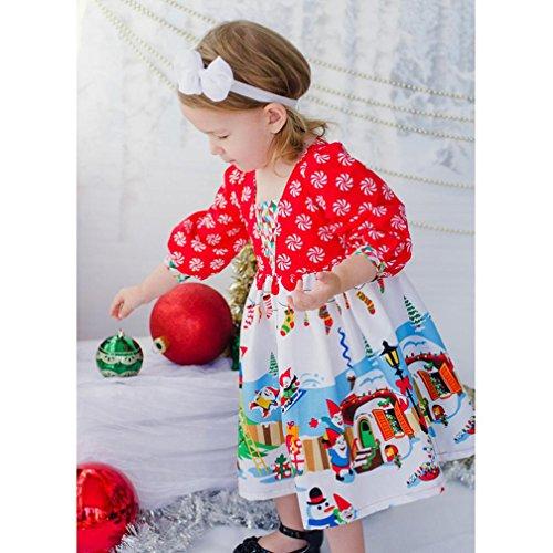 Longra Kleinkind Kinder Baby Mädchen Karikatur Langarm Prinzessin Tutu Kleid Karneval Party Kleid Festkleid Kinder Weihnachten Outfits Kleidung