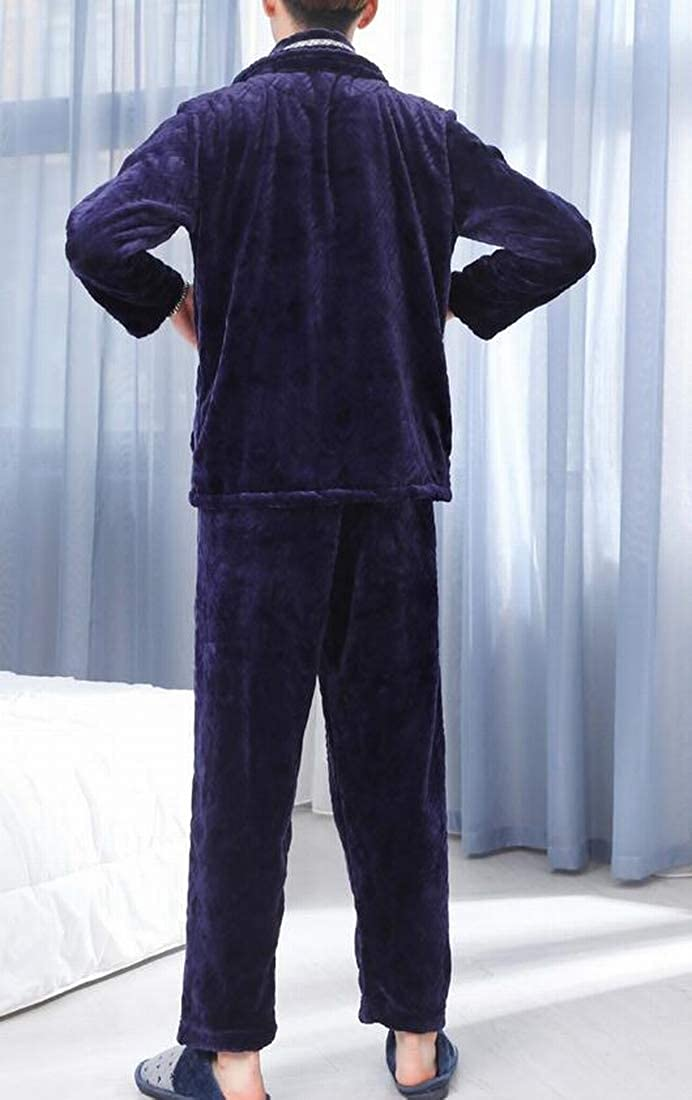 Pivaconis Mens Thicken Winter Coral Fleece Long Sleeve Tops Pants Pajamas Sets